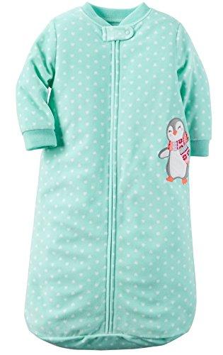 Baby Sack - Carters One Piece Zoo Animals Micro Fleece Sleep Bag or Sack (0-9 Months, Turquoise Heart Penguin)