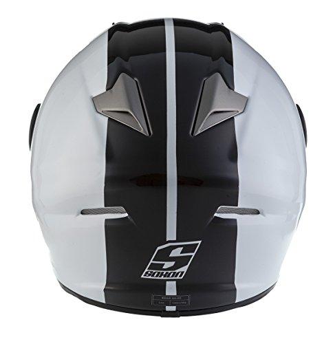 SOXON ST-666 Deluxe White Black · Street Full-Face Cruiser Helmet Sport...