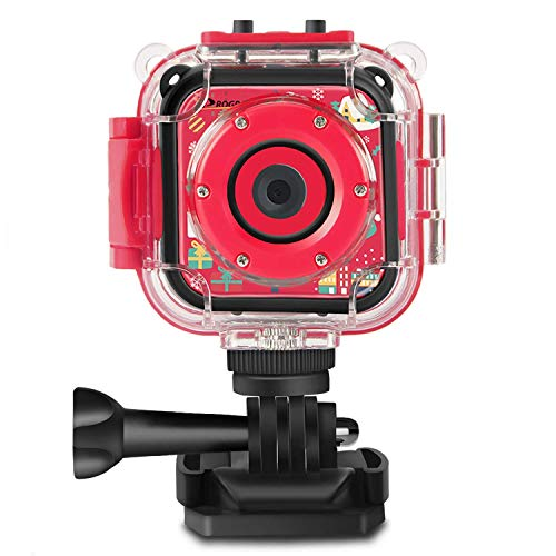 Prograce Kids Camera Underwater Waterproof Camera for Kids Camcorder for Boys Girls 4X Zoom-Red