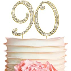90 GOLD Birthday Cake Topper | Premium Bling Crystal Diamond Rhinestone Gems | Monogram Number Ninety | 90th Birthday Party Decoration Ideas | Perfect Keepsake (90 Gold)