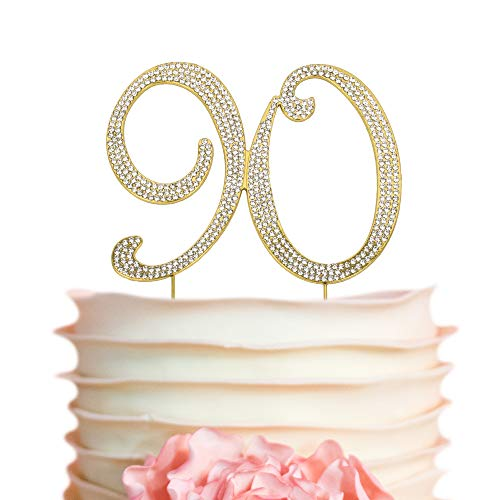 90 GOLD Birthday Cake Topper | Premium Bling Crystal Diamond Rhinestone Gems | Monogram Number Ninety | 90th Birthday Party Decoration Ideas | Perfect Keepsake (90 Gold)