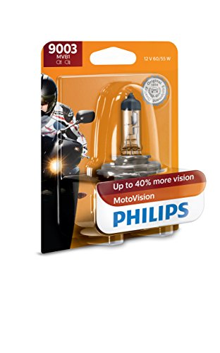 Philips 9003MVB1 MotoVision Motorcycle and Powersport Replacement Headlight Bulb, 1 Pack