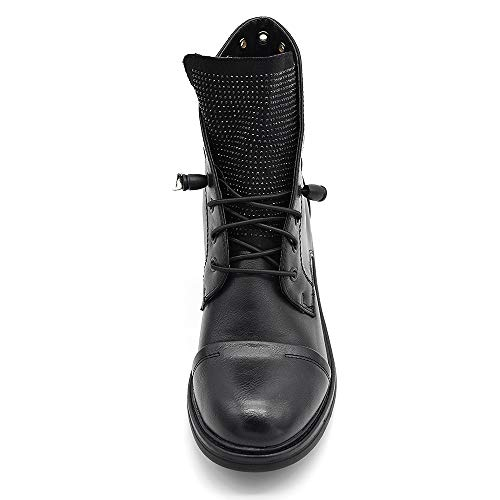 IF fashion stivaletti stivali invernali scarpe da donna lacci anfibi strass IF163 nero 40