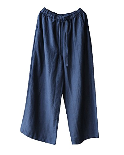 IXIMO Women's Wide Leg Pants Retro Cotton Linen Straight Drawstring Elastic Waist with Pockets Navy -