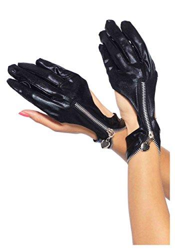 Leg Avenue Women's Wet Look Gloves, Black, One Size