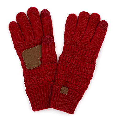 (G2-6020a-42 Knitted Lined Gloves - Red)