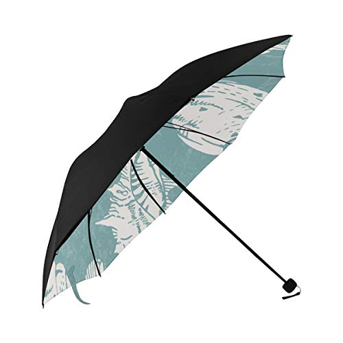 Seashells Starfish And Coral Underwater Life Summer Seaside Compact Travel Umbrella Parasol Anti Uv Foldable Umbrellas(underside Printing) As Best Present For Women Uv Protection
