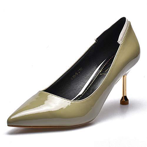 FLYRCX Spitze-Stilett-Art und Weise der europäischen Art beschuht Elegante Elegante Elegante Temperament reizvolle Lacklederhohe Ferse Arbeitsschuhe der eleganten Damen 01bef7