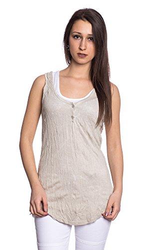 Abbino 8429 Basics Tops Camisetas Sin Mangas para Müjeres - Hecho en ITALIA - 8 Colores - Camisas Entretiempo Primavera Verano Otoño Fiesta Elegantes Fitness Rebajas Algodón Beige
