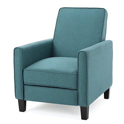 Lucas Dark Teal Fabric Recliner Club Chair - Birch Reclining Recliner