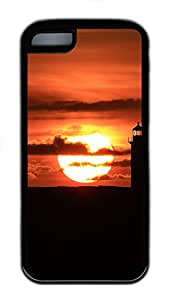 iPhone 5C Case, iPhone 5C Cases - Landscapes Lighthouse Sunset Polycarbonate Hard Case Back Cover for iPhone 5C¨C Black