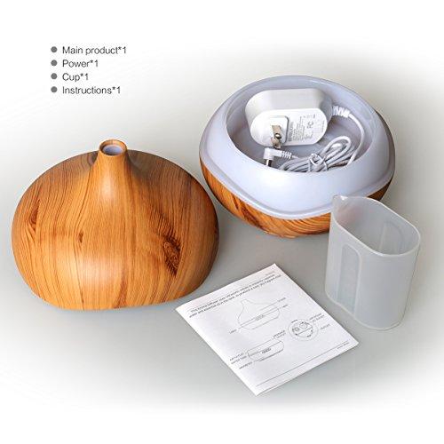Essential Oil Diffuser 300ml Aromatherapy Diffuser Mini Ultrasonic Aroma Diffuser,Wood Grain Cool Mist Humidifier for Office Home Bedroom Living Room Study Yoga Spa,Inofia