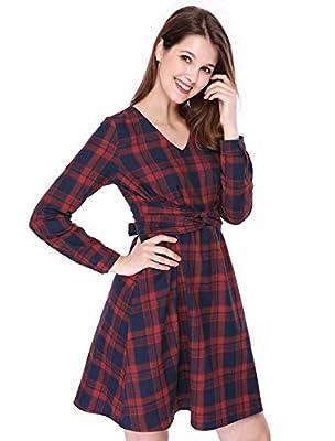 Allegra K Women's Tie Waist Long Sleeve V Neck A-Lined Knee Length Plaids Dress