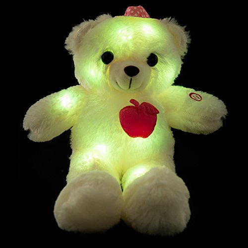 Wewill Adorable LED Light up Glow Teddy Bear, Teddy Bear Little Stuffed Toys, Stuffed Plush Toy with Colorful Flash LED Light , Stuffed Animal Toy Gifts for Children's Day 10-Inch - Plush Bear Teddy Toy