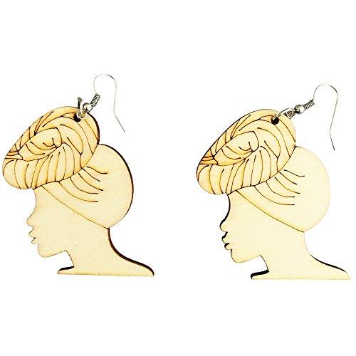 Headwrap Lyfe Earrings / Natural Hair / African American Woman Earring / Wood Jewelry (Top Bun) (African American Jewelry)