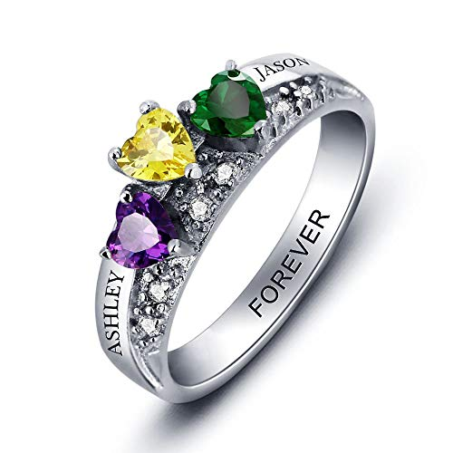 Personalized 3 Simulated Birthstones Ring Mothers Rings Family Name Mom Rings Mothers Day Rings (6)