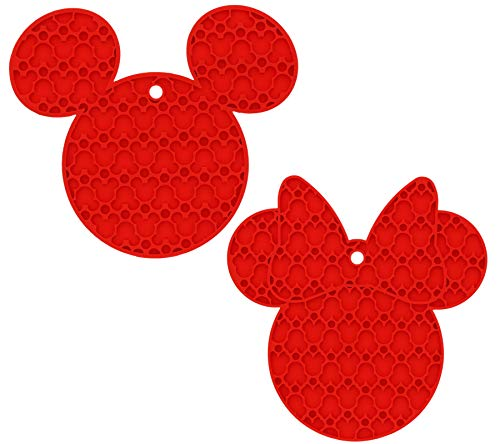Multipurpose Flexible Kitchen Tool, 100% Silicone Trivet, Pot Holder, Spoon Rest, Jar Opener, Coaster, Heat Resistant Pad (up to 500 degrees F) 2pk- Mickey and Minnie Mouse