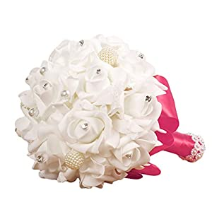 QHB Wedding Bridal Bouquet, Handmade Crystal Ribbon Rhinestone Wedding Bridesmaid Bouquet,Crystal Roses Bridesmaid Wedding Bouquet Bridal Artificial Silk Flowers Cheap (E) 70