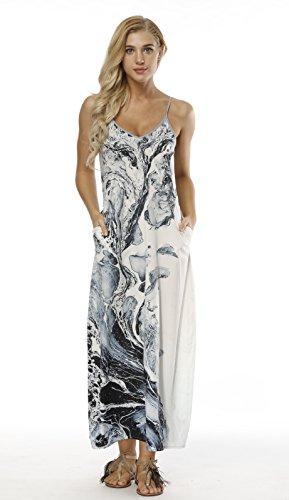 BLACKTOMATO Women's Casual Pocket Beach Long Cover up Sleeveless Print Loose Maxi Dress (Water, M) by BLACKTOMATO