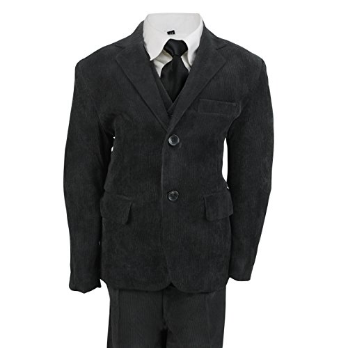 XPOSED Kids Vintage Corduroy 3 Piece Suit In Cream Black Beige, Page Boy, Wedding, Party Age 2-12 Year [Black,8 Years]