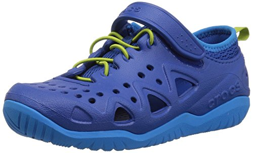 Crocs Unisex Swiftwater Play Shoe K Sneaker, Blue Jean, 12 M