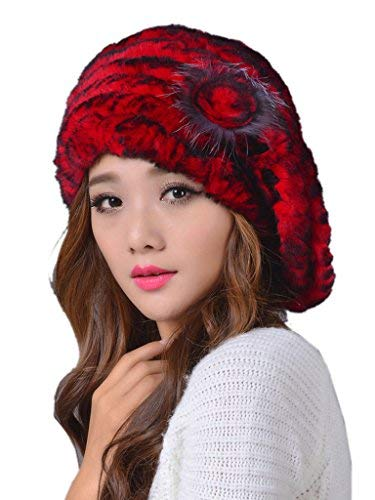 LITHER Fashion Ladies Real Rex Rabbit Fur Kintted Winter Warm Beret Hat ()
