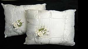 Two Elegant White Satin Kneeling Pillows with Flower Bouquet