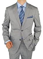 Bianco B Men's Suit Two Button 2-Piece Modern Fit Suit Gray Jacket & Trousers