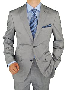 B00EBGM0TS Bianco B Men's Silver Gray Two Button Trim Fit Washed Cotton Stretch Suit (42 Long US / 52 Long Euro, Silver Gray)