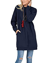 Women's Oversized Pullover Long Sleeve Sweatshirt Solid Color Round Neck Tunic Loose Fit Outwear Tops