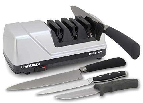 Chef'sChoice 15 Trizor XV EdgeSelect Professional Electric Knife Sharpener for Straight and Serrated Knives Diamond Abrasives Patented Sharpening System Made in USA, 3-Stage, ()