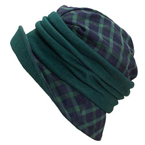 Lawliet Women 1920s Flapper Tartan Plaid Wool Blend Cloche Bucket Hat A501 (Green)