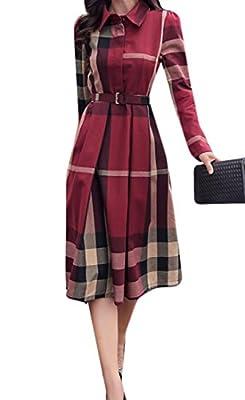 happy time Women's Classic Plaid Long Sleeve Belt Work Midi Shirt Dress