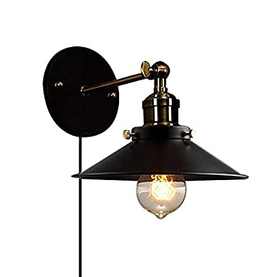 STGLIGHTING Metal Wall Sconce 1 Light Fixture E26 UL Certification Plug-in Button Switch Cord Lighting Vintage Industrial Loft Style Wall Lamp for Bathroom Dining Room Kitchen Bedroom Bulbs Included - Lampshade dia is 21cm. With a 1.8m UL Certification Plug-In Button Switch Cord Blub Base: E26/E27, edison light bulb is recommended(Bulb Included)、Rated voltage: 110-240V This elegant PLUG IN light fixture oozes sophistication, giving off pleasant and workable light for any space. Pretty meets practical with a vintage-inspired - bathroom-lights, bathroom-fixtures-hardware, bathroom - 41YpODRkTcL. SS400  -