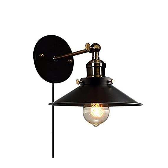 STGLIGHTING Metal Wall Sconce 1 Light Fixture E26 UL Certification Plug-in Button Switch Cord Lighting Vintage Industrial Loft Style Wall Lamp for Bathroom Dining Room Kitchen Bedroom Bulbs Included - Lampshade dia is 21cm. With a 1.8m UL Certification Plug-In Button Switch Cord Blub Base: E26/E27, edison light bulb is recommended(Bulb Included)、Rated voltage: 110-240V This elegant PLUG IN light fixture oozes sophistication, giving off pleasant and workable light for any space. Pretty meets practical with a vintage-inspired - bathroom-lights, bathroom-fixtures-hardware, bathroom - 41YpODRkTcL. SS570  -