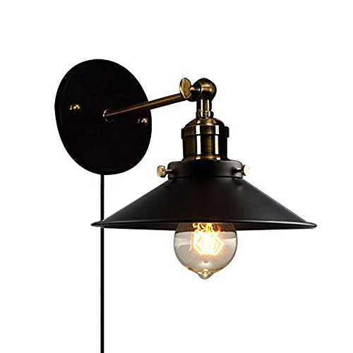 Kiven Metal Wall Sconce 1 Light Fixture E26 UL Certification Plug-In Button Switch Cord Lighting Vintage Industrial Loft Style Wall Lamp For Bathroom Dining Room Kitchen Bedroom Bulbs Included