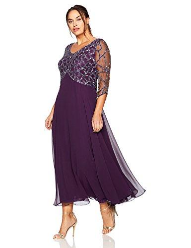 J Kara Women's Plus Size 3/4 Sleeve Geo Beaded Gown, Plum/Mercury/Silver, 22W