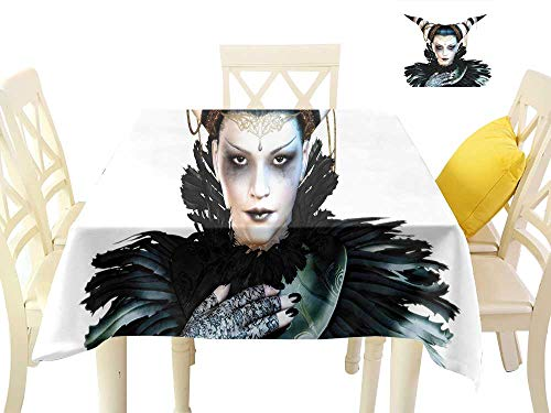 W Machine Sky Stain-Resistant Tablecloth Fantasy Portrait of a Gothic Lady with a Carnival Costume Black Lipstick and Hair Horns W60 xL60 Suitable for Buffet Table, Parties, Wedding ()
