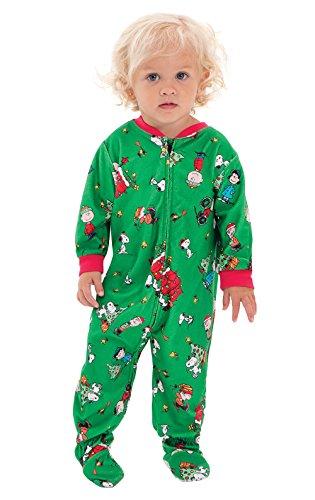PajamaGram Infant Christmas Pajamas Onesie - Charlie Brown Christmas, Green, 18M (Pics Christmas Peanuts)