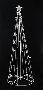 Sienna Cool White LED Lighted Outdoor Christmas Cone Tree Yard Art Decoration, 5'