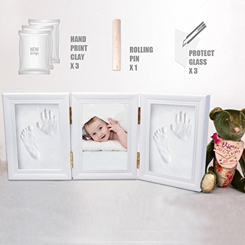 Baby Handprint Kit Footprint Frame - White Family 5x7 Picture Wood Frame, Newborn Baby Keepsakes Perfect Gifts for Boy and Girl Best Shower Gift for Registry, Non Toxic Clay Maternity Gift Decor