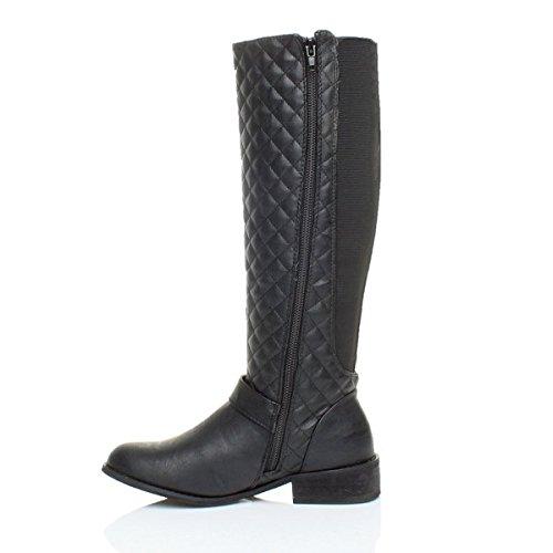 calf flat heel quilted ladies winter wide Womens boots Black size stretch zip knee riding biker low Matte Ajvani wtnIq70Pt