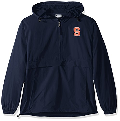 Champion NCAA Men's Half Zip Front Pocket Packable Jacket Syracuse Orange XX-Large