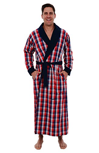 - Del Rossa Mens Turkish Terry Cloth Robe, Woven Shell Long Bathrobe, Blue and Red Plaid 1XL 2XL (A0140P402X)