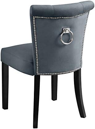 My-Furniture – Positano - Silla de Comedor tapizada, Color Gris Humo, con Botones y argolla en la Parte Posterior del Respaldo