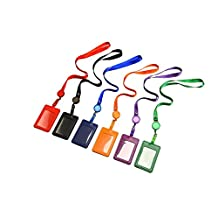 Outus Vertical Style 2-Sided Faux Leather Business ID Credit Card Badge Holder with Retractable Lanyard Neck Strap Band, 6 Pieces