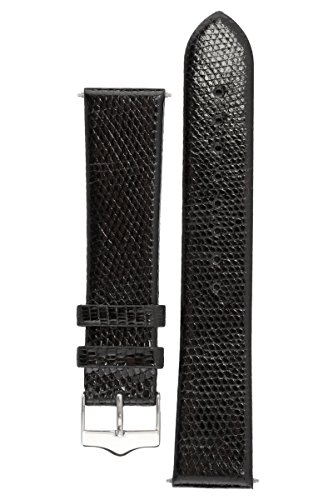 Signature Lizard in black 18 mm watch band. Replacement watch strap. Genuine Lizard skin. Shine. Silver Buckle -