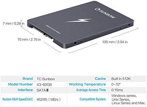 TCSunBow X3 60GB 2,5 pulgadas de 60 GB Con 256M caché SATAIII SSD ...