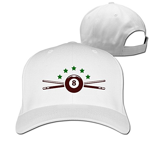 Mens-Billiards-Star-Adjustable-Flexfit-Fitted-Caps-Baseball-Hat-White
