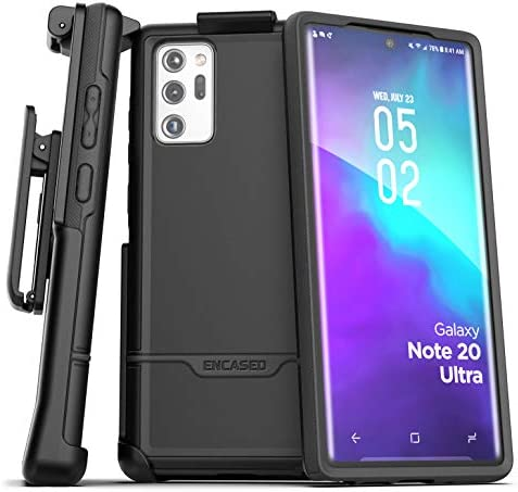 Encased Galaxy Note 20 Ultra Belt Clip Protective Holster Case (2020 Rebel Armor) Heavy Duty Rugged Full Body Cover with Holder for Samsung Note 20 Ultra (Black)